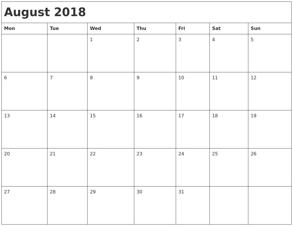 Calendar By Month Monday To Friday  Template Calendar Design in Free Monday Through Friday Calendar Template