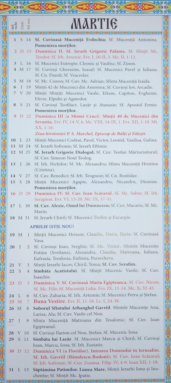 Calendar Crestin Ortodox 20192020 Stil Vechi Republica for Calendar Ortodox Mai 2021