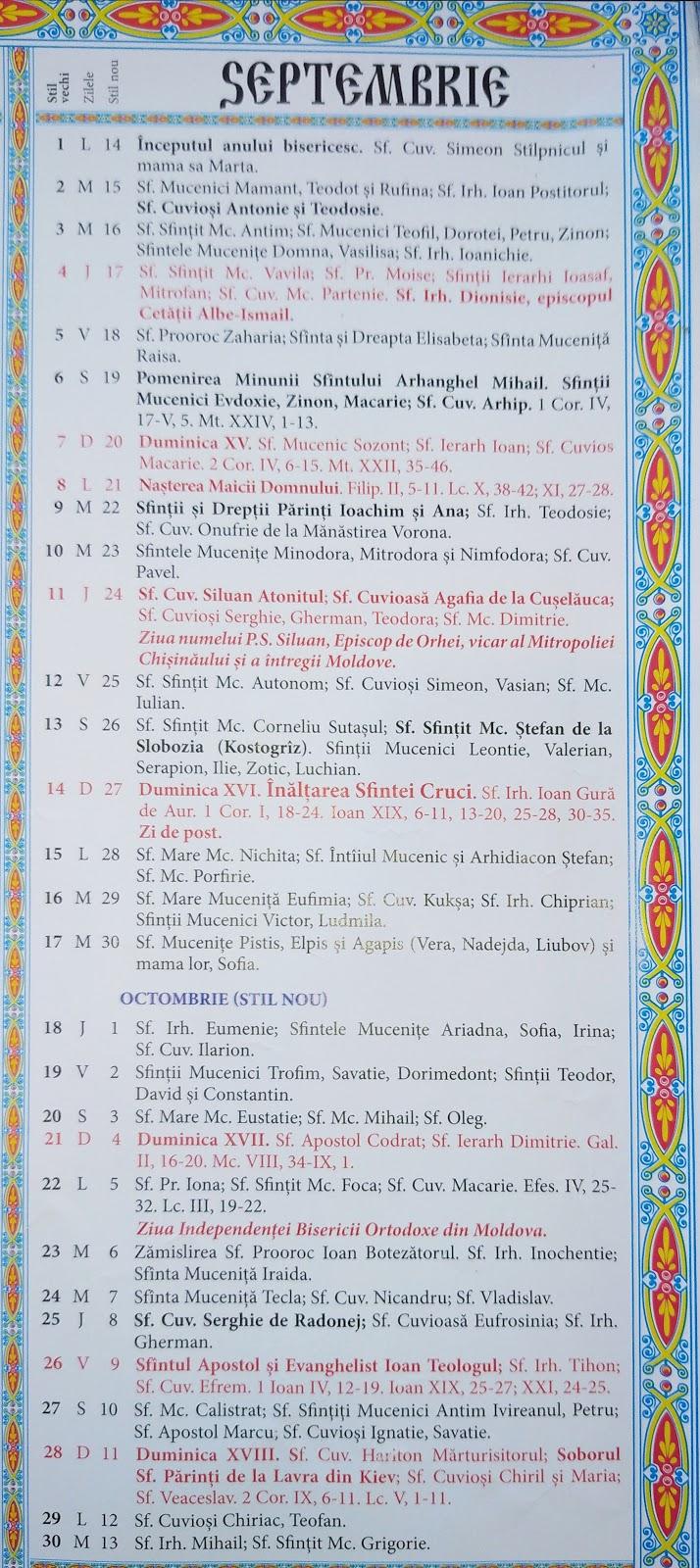 Calendar Crestin Ortodox 20192020 Stil Vechi Republica inside Calendar Ortodox Mai 2021