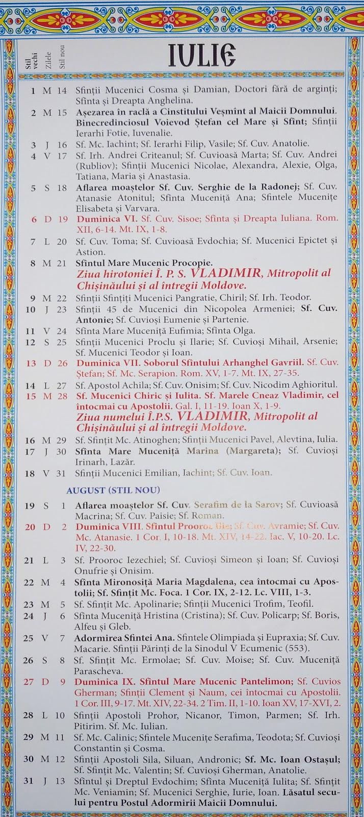 Calendar Crestin Ortodox 20192020 Stil Vechi Republica regarding Calendar Ortodox Mai 2021