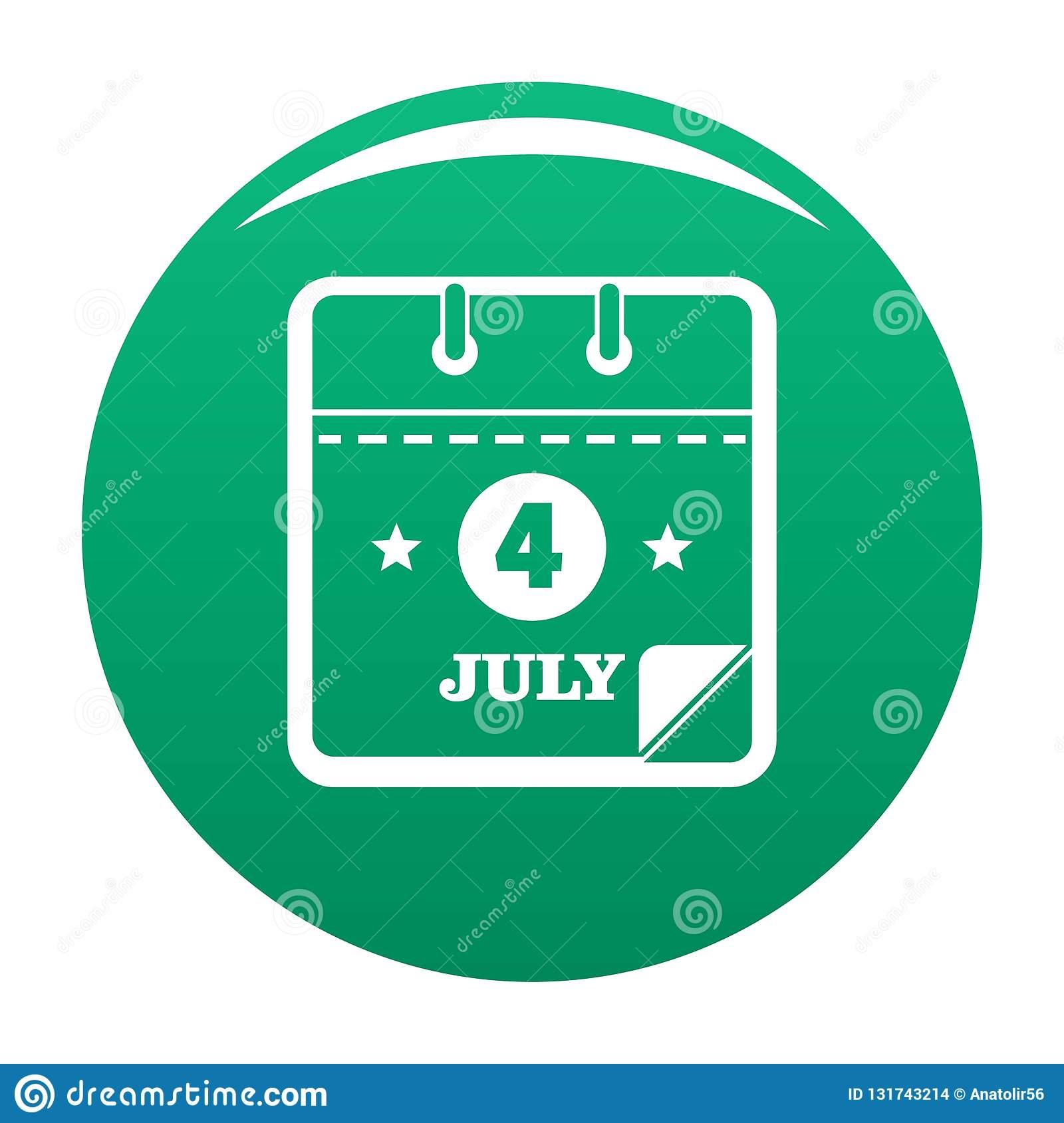 Calendar Fourth July Icon Vector Green Stock Vector with Calendar Icon Green