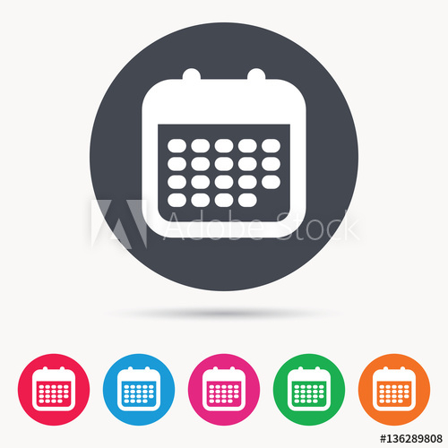 """""""Calendar Icon. Events Reminder Symbol. Colored Circle within Calendar Circle Icon"""