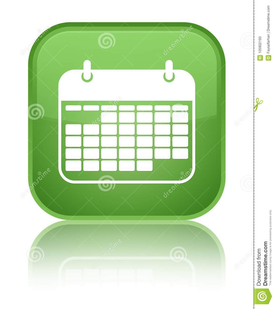 Calendar Icon Special Soft Green Square Button Stock with regard to Calendar Icon Green