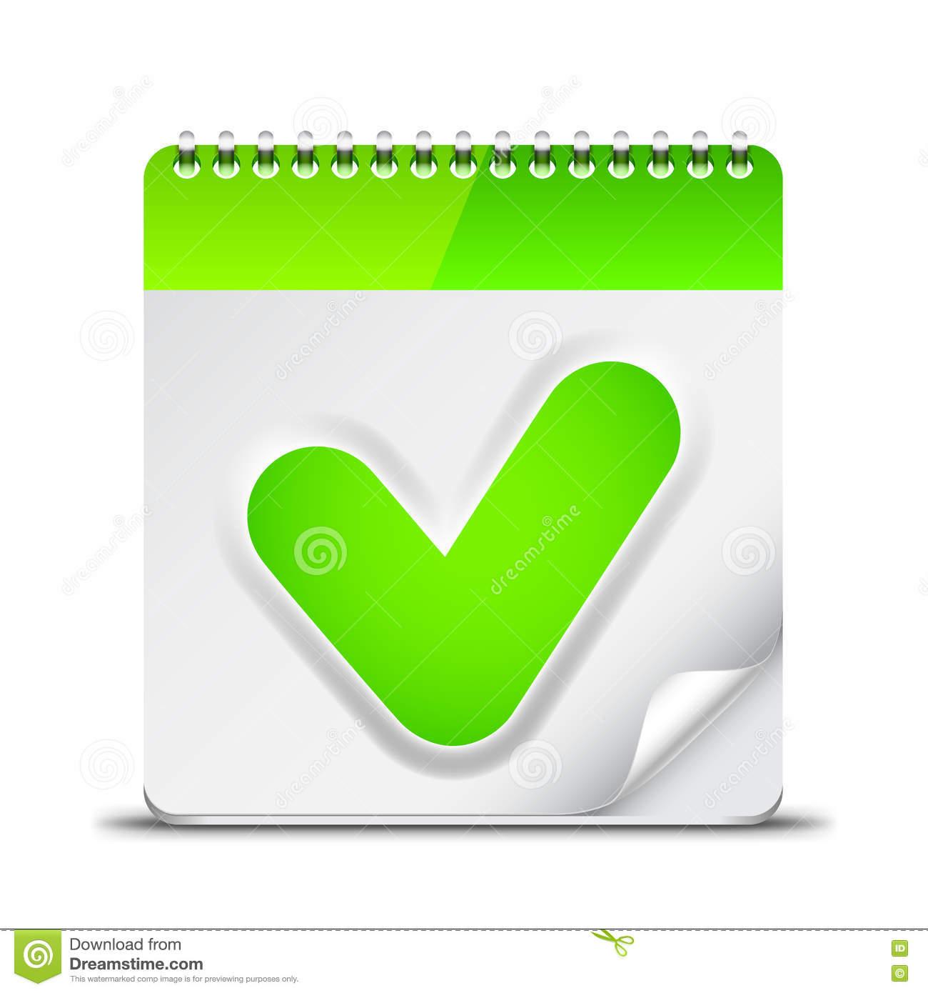 Calendar Icon With Check Mark Symbol Stock Vector for Calendar Icon Green