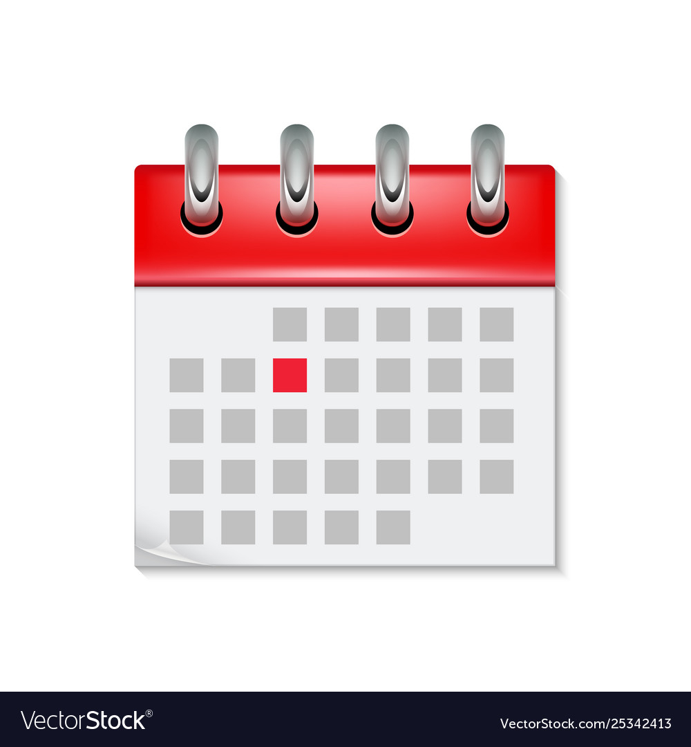 Calendar Icon With Month Time Symbol Flat Agenda Vector Image with Calendar Icon Red
