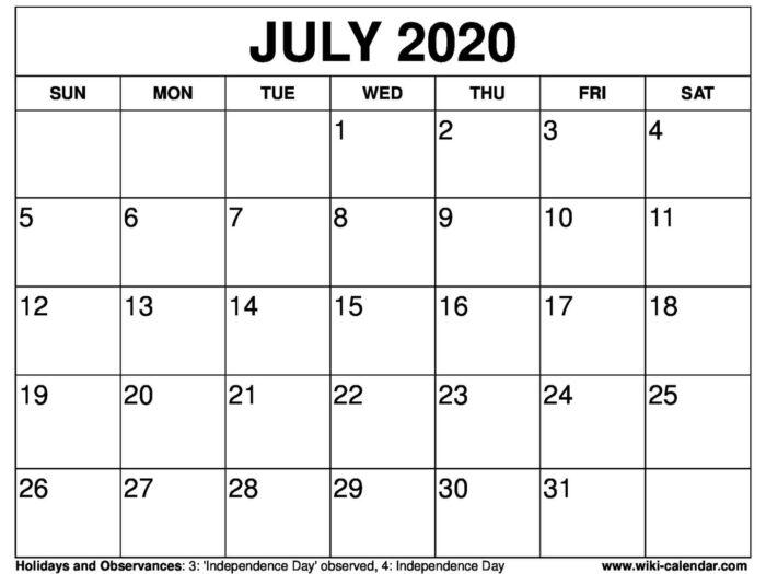 Calendar July 4 2020   Month Calendar Printable with regard to 4 Month Printable Calendar