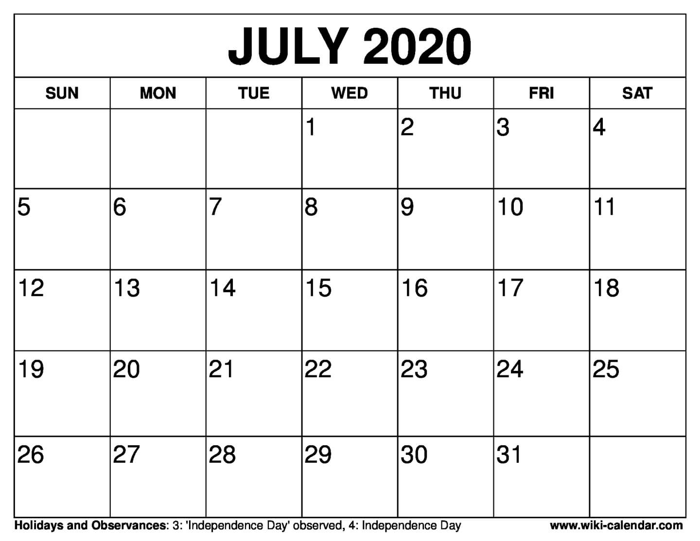 Calendar July 4 2020 | Month Calendar Printable with regard to 4 Month Printable Calendar