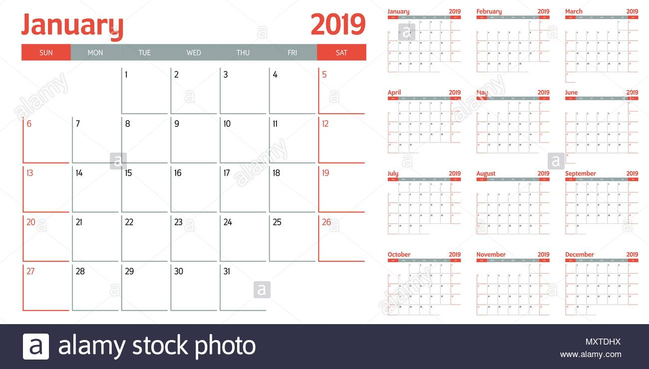 Calendar Planner 2019 Template Vector Illustration All 12 intended for Calendar Sunday To Saturday