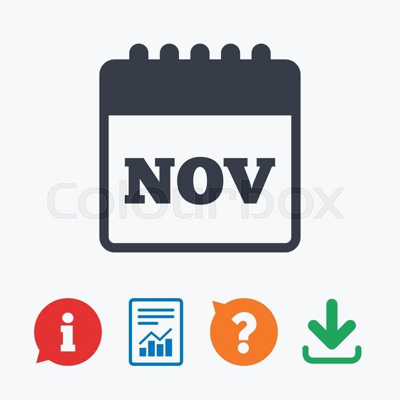Calendar Sign Icon. November Month  | Stock Vector throughout Calendar Circle Icon