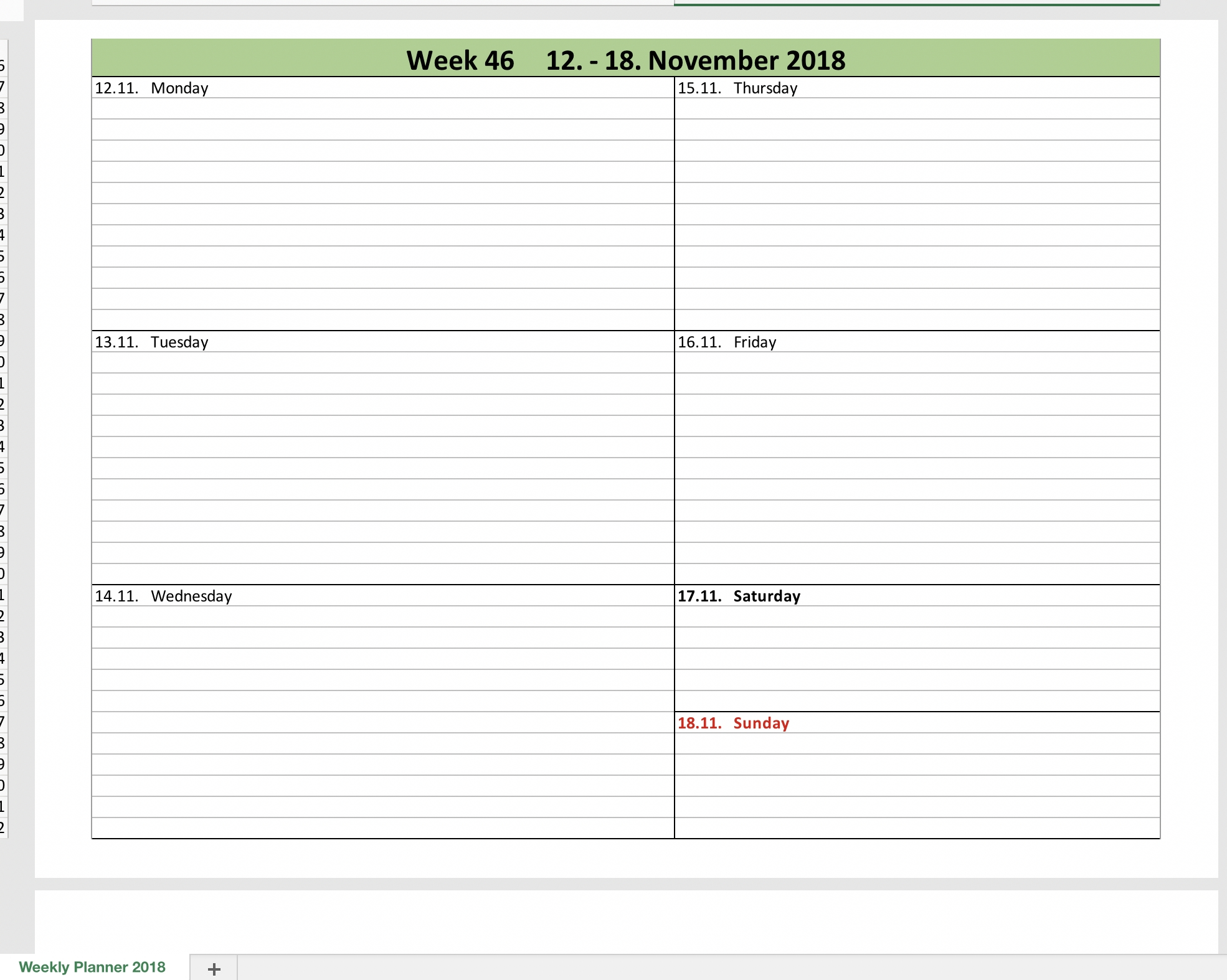 Calendar Week Date Excel | Ten Free Printable Calendar within Excel Week Calendar Template