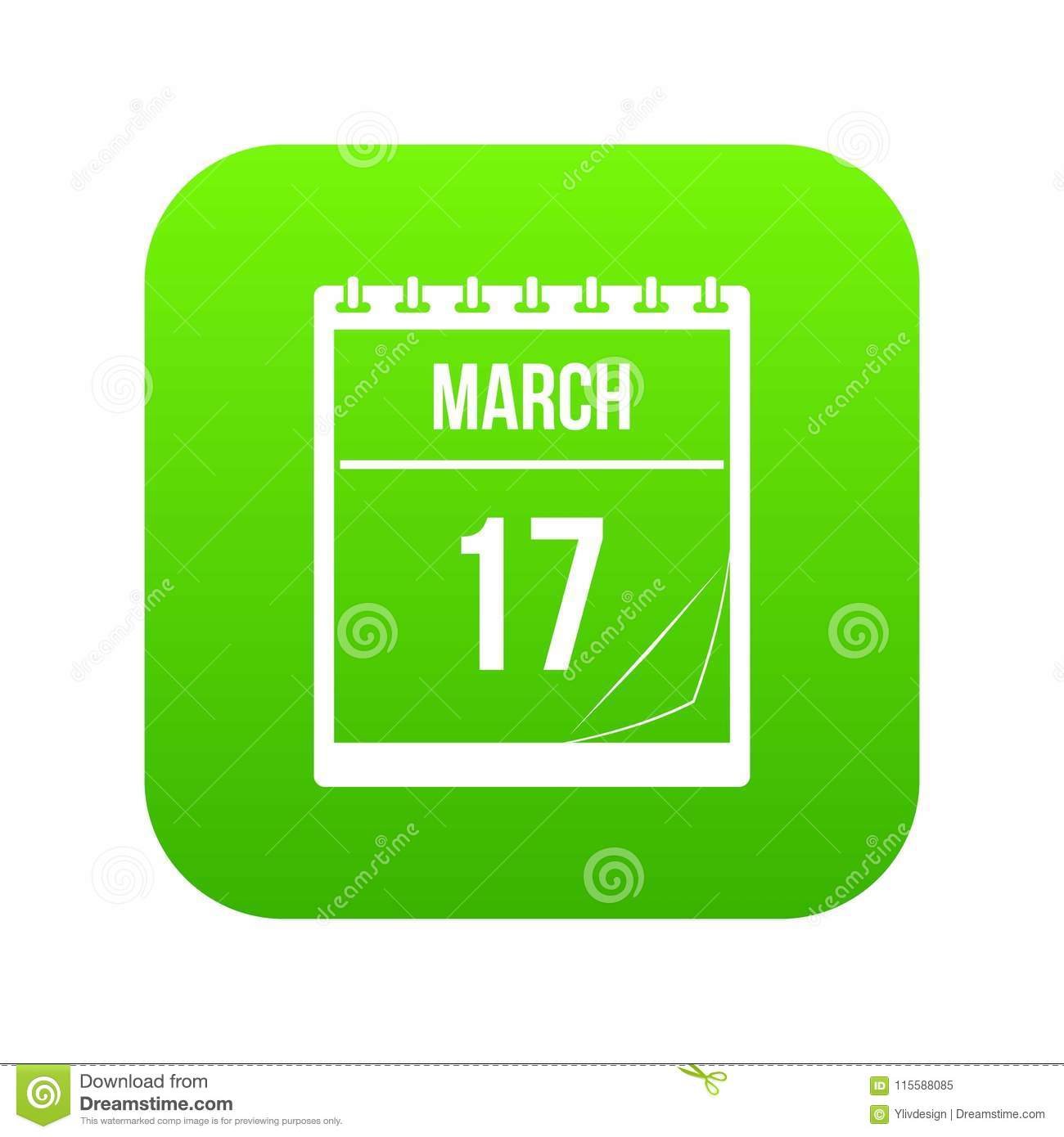 Calendar With Date Of March 17 Icon Digital Green Stock in Calendar Icon Green
