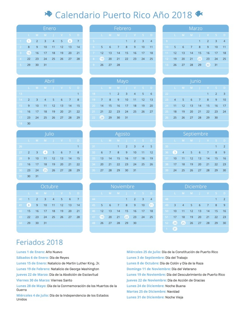 Calendario 2018 Para Imprimir (Anual, Mensual, Escolar inside Lunar Calendar Puerto Rico