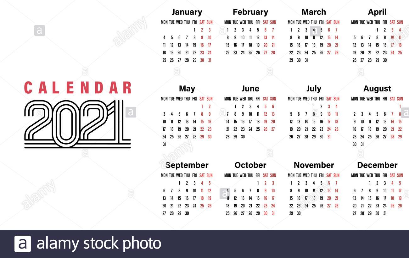 Calendario 2021 Fotos E Imágenes De Stock  Alamy inside Calendario 2021 Con Semanas