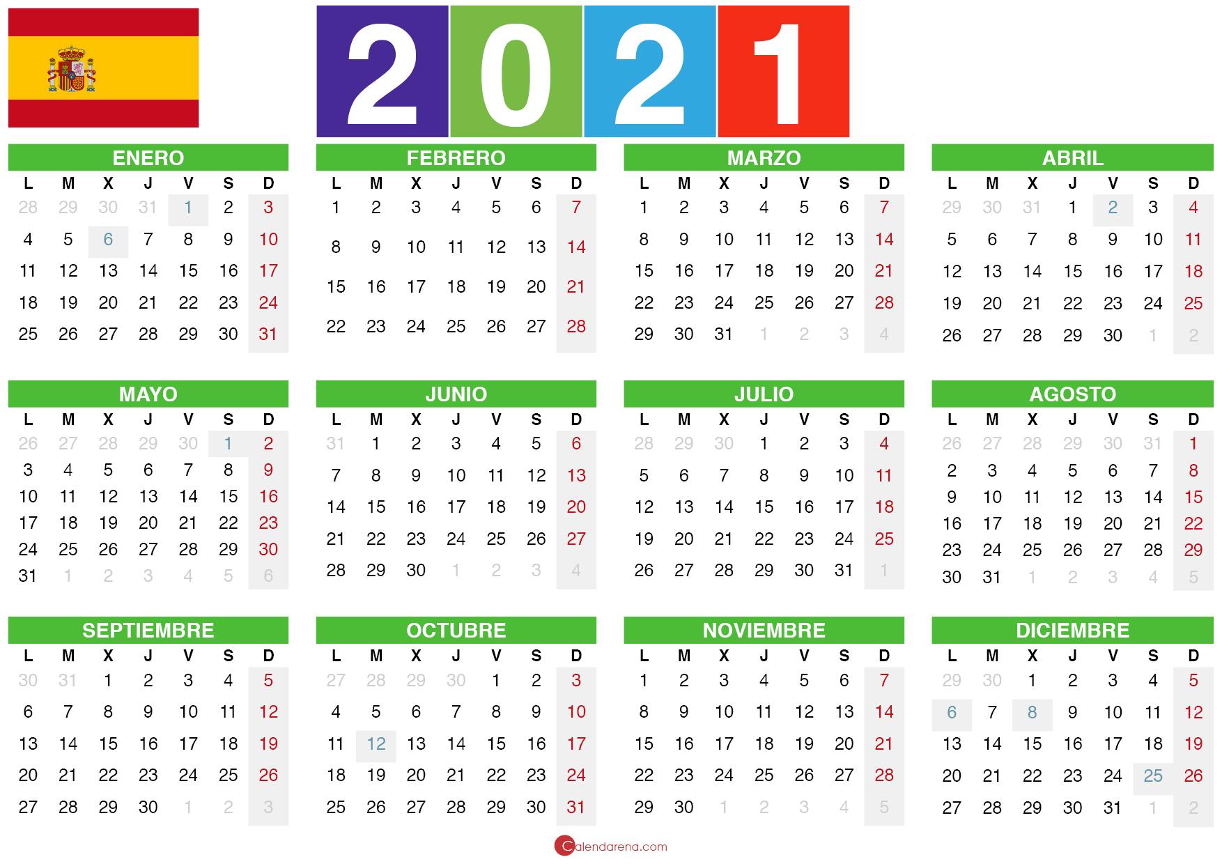 Calendario 2021 Plantilla 2  Calendarena in Calendario 2021 Con Semanas