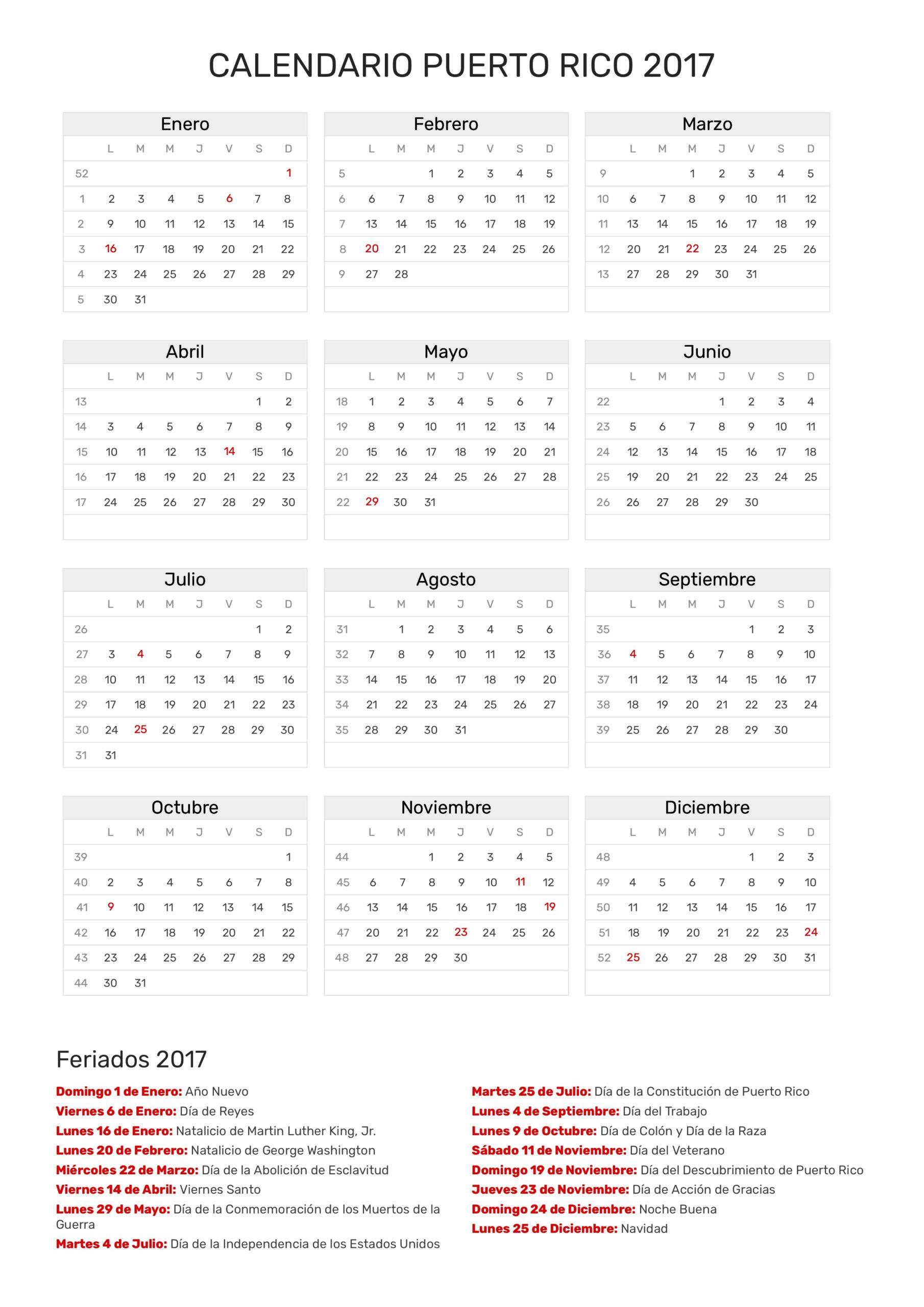 Calendario De Puerto Rico Año 2017 | Feriados | Feriados regarding Lunar Calendar Puerto Rico