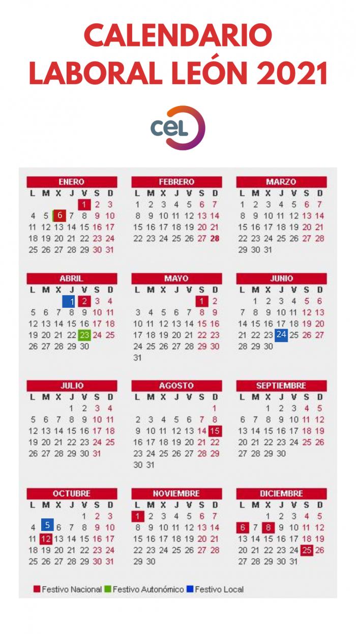 Calendario Laboral 2021 En León  Cel intended for Calendario 2021 Con Semanas