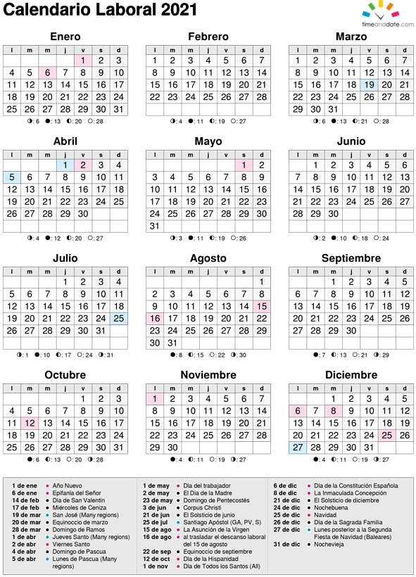 Calendario Laboral Año 2021 España pertaining to Calendario 2021 Con Semanas