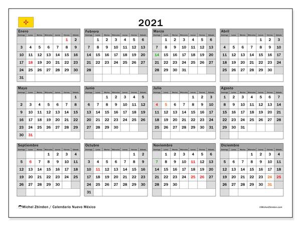 "Calendario ""Nuevo México"" 2021 Para Imprimir  Michel intended for Calendario 2021 Con Semanas"