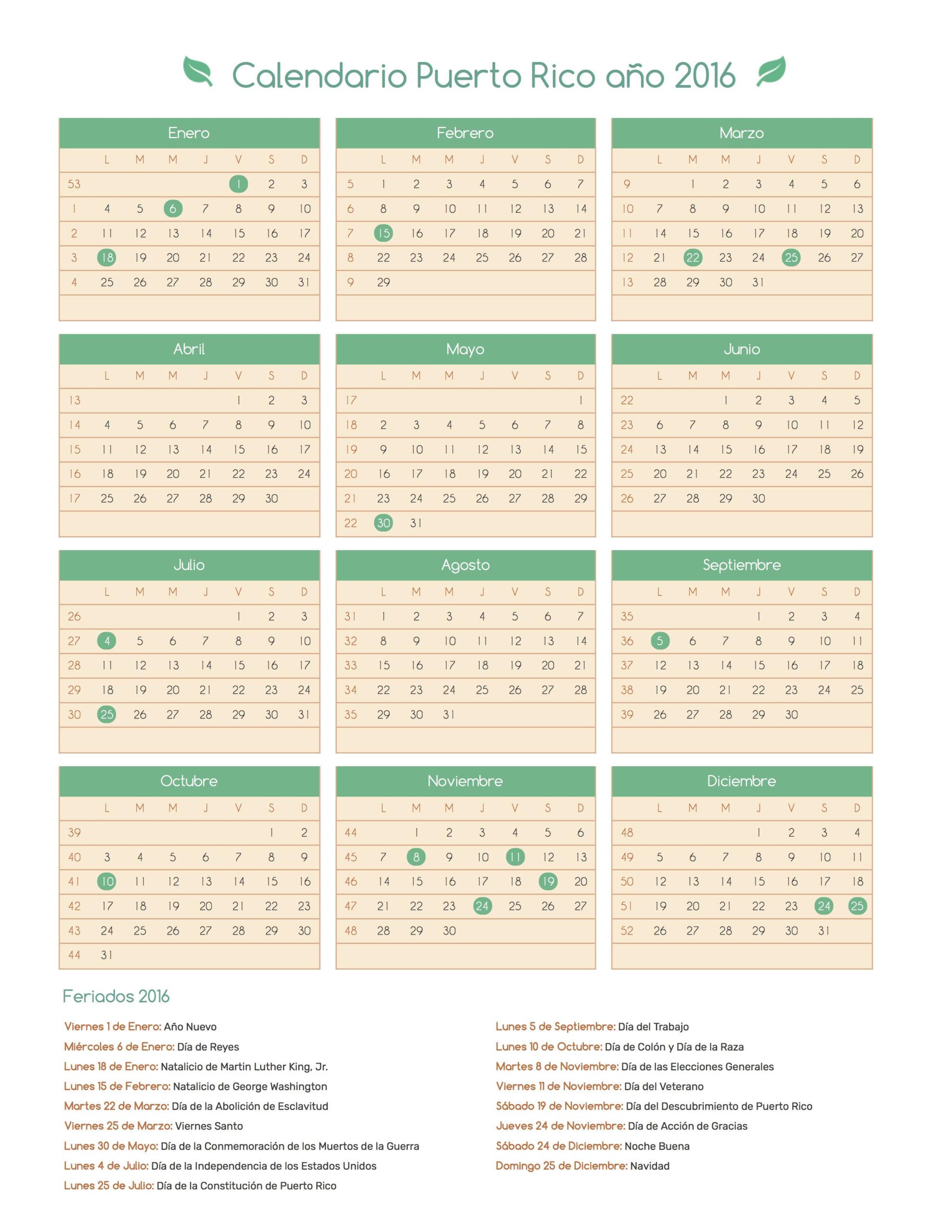 Calendario Puerto Rico Año 2016 | Feriados regarding Lunar Calendar Puerto Rico