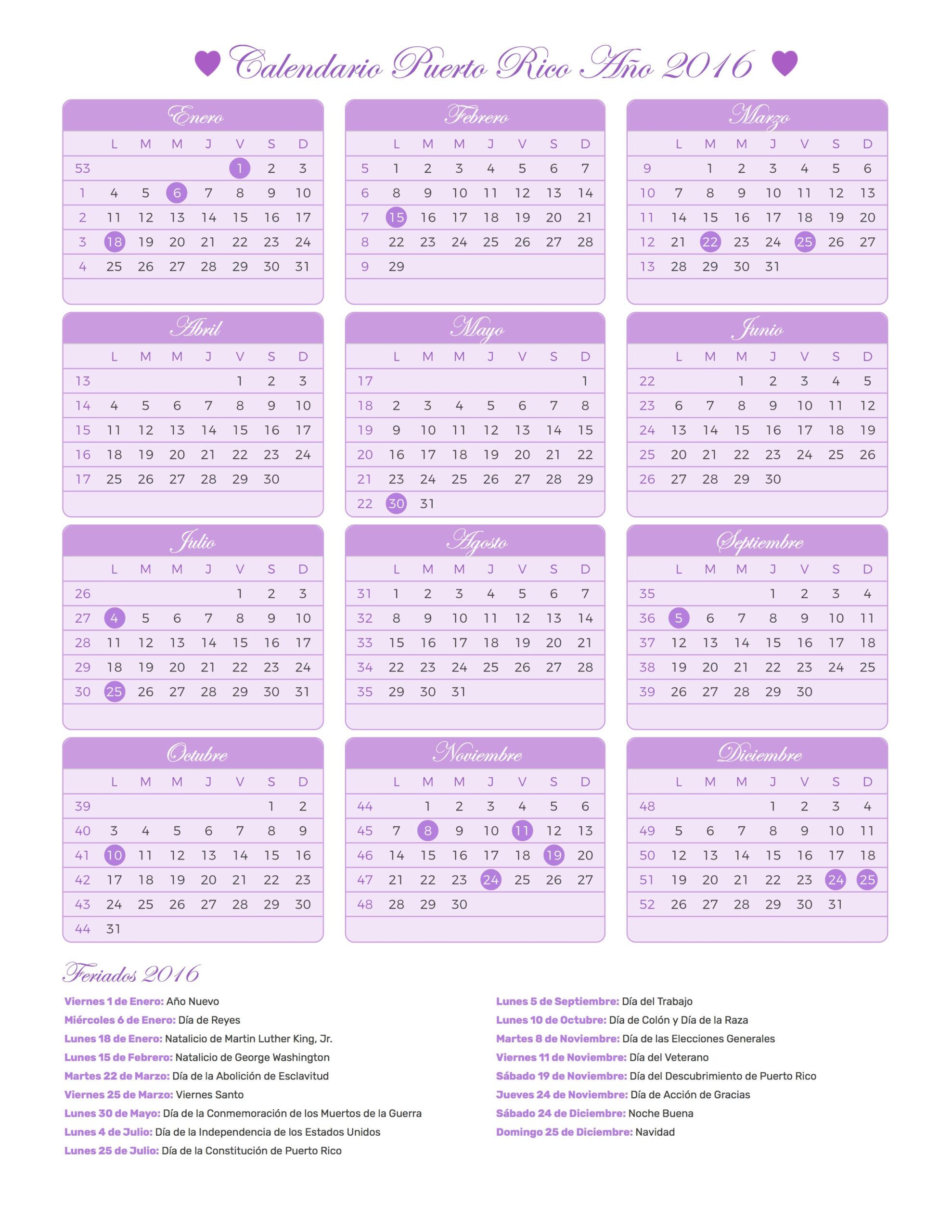 Calendario Puerto Rico Año 2016 | Feriados throughout Lunar Calendar Puerto Rico