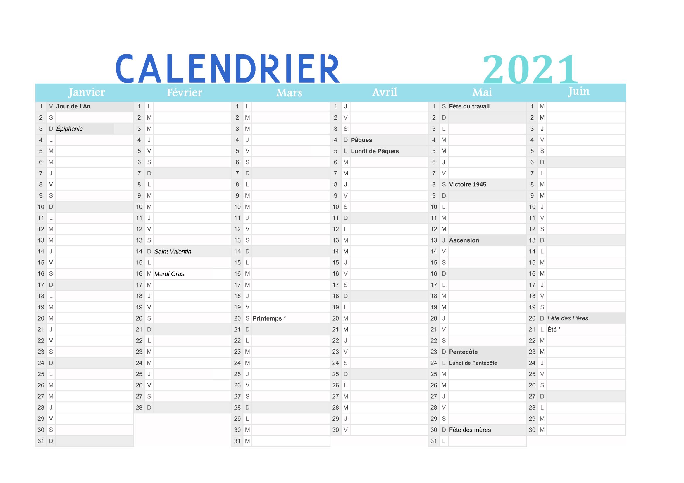 Calendrier 2021 Mensuel À Imprimer (Pdf Gratuit within Calendrier À Imprimer 2021