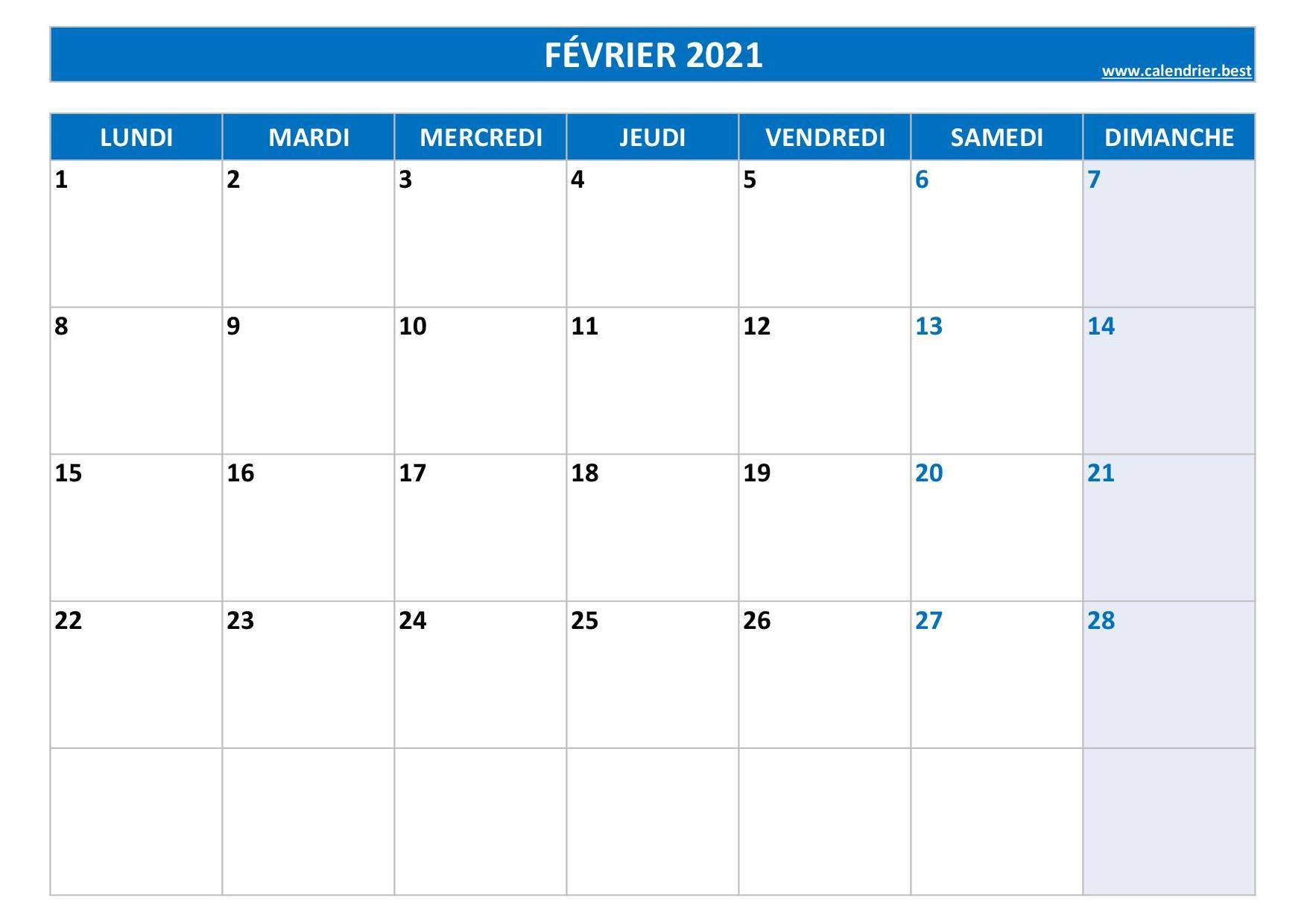 Calendrier Février 2021 À Consulter Ou Imprimer inside Calendrier À Imprimer 2021