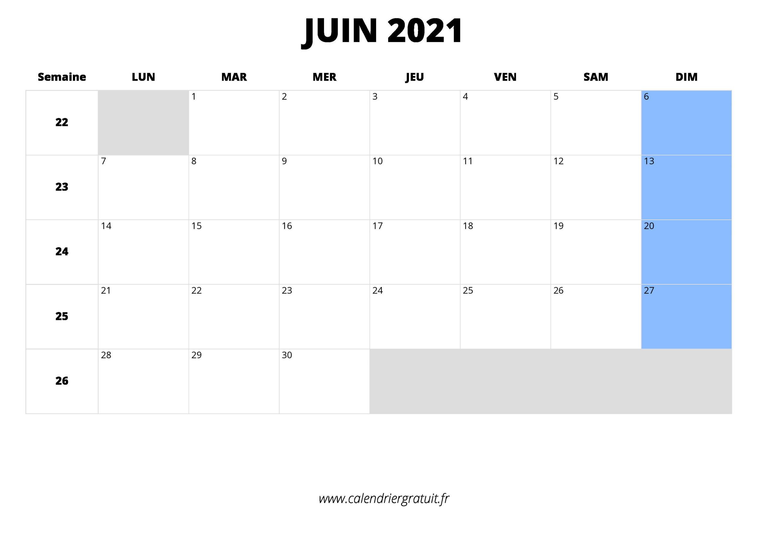 Calendrier Juin 2021 À Imprimer in Calendrier À Imprimer 2021