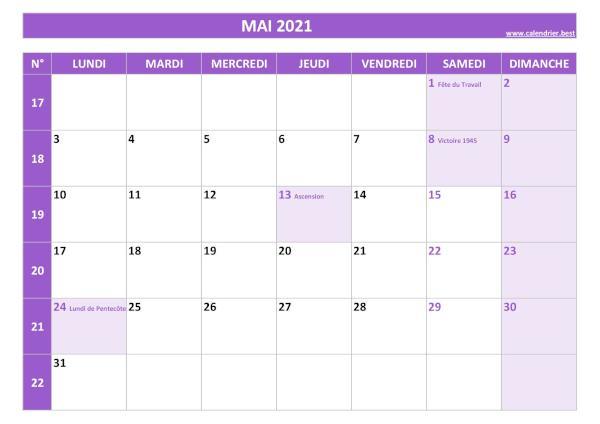 Calendrier Mai 2021 À Consulter Ou Imprimer Calendrier.best pertaining to Calendrier À Imprimer 2021