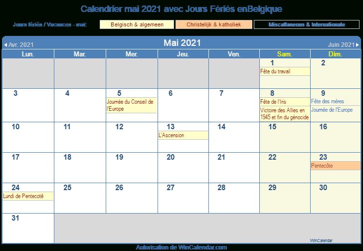 Calendrier Mai 2021 À Imprimer  Belgique intended for Calendrier À Imprimer 2021