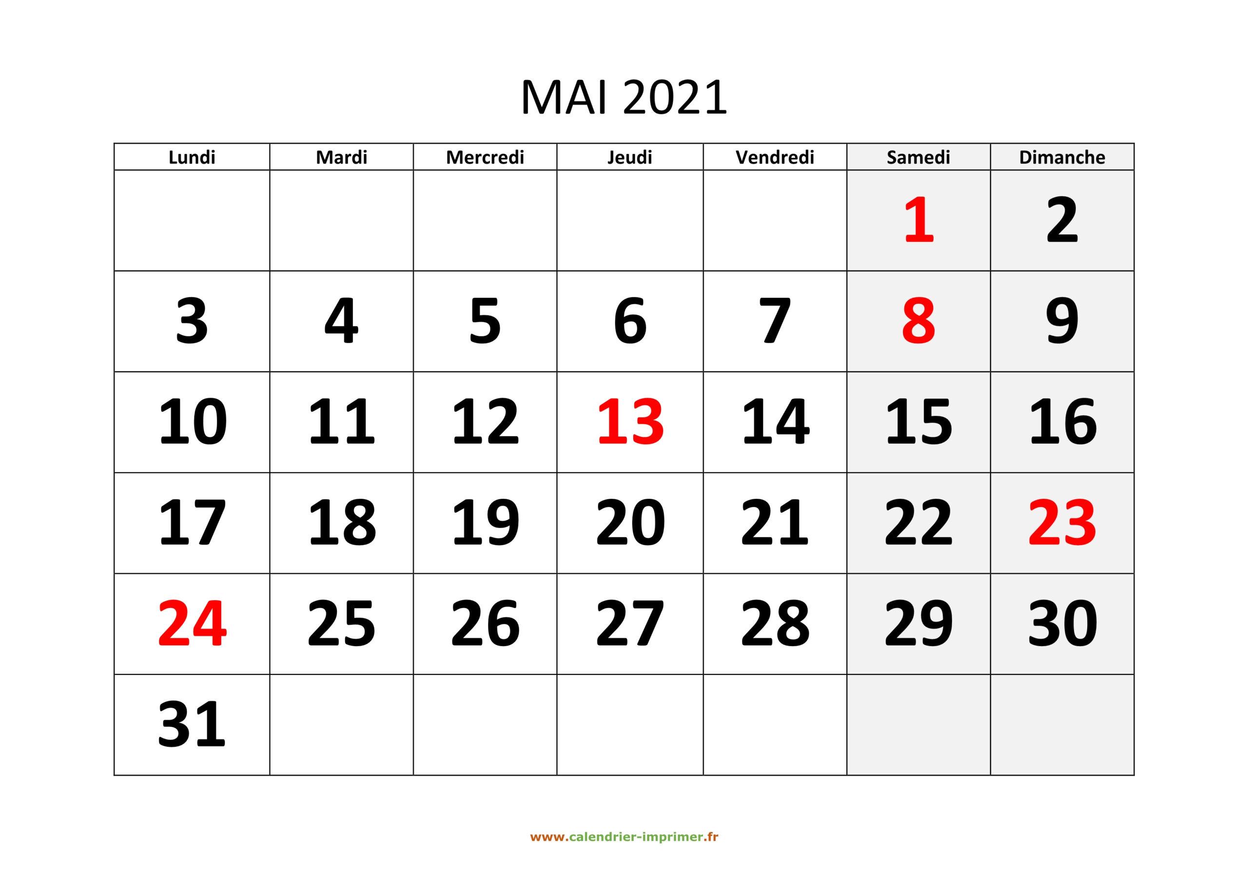 Calendrier Mai 2021 Jour Ferie | Calendrier Avent in Calendrier À Imprimer 2021