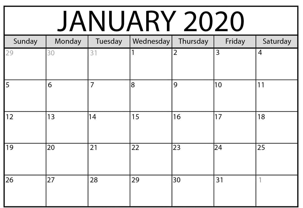 Catch Free Printable Monthly Calendar 2020 Template in Blank 12 Month Calendar