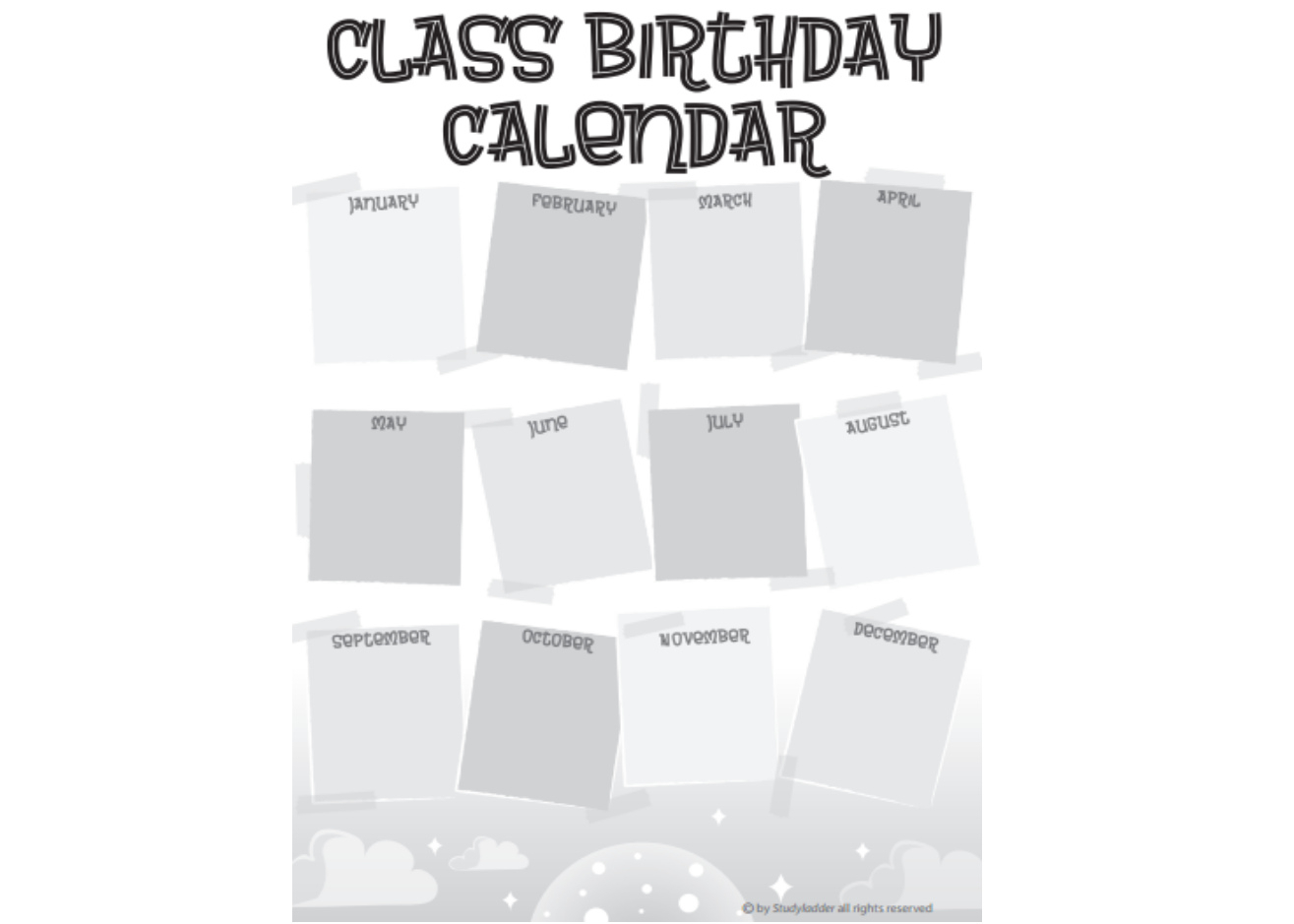 Class Birthday Calendar  Studyladder Interactive Learning with Birthday Calendar Template For Classroom
