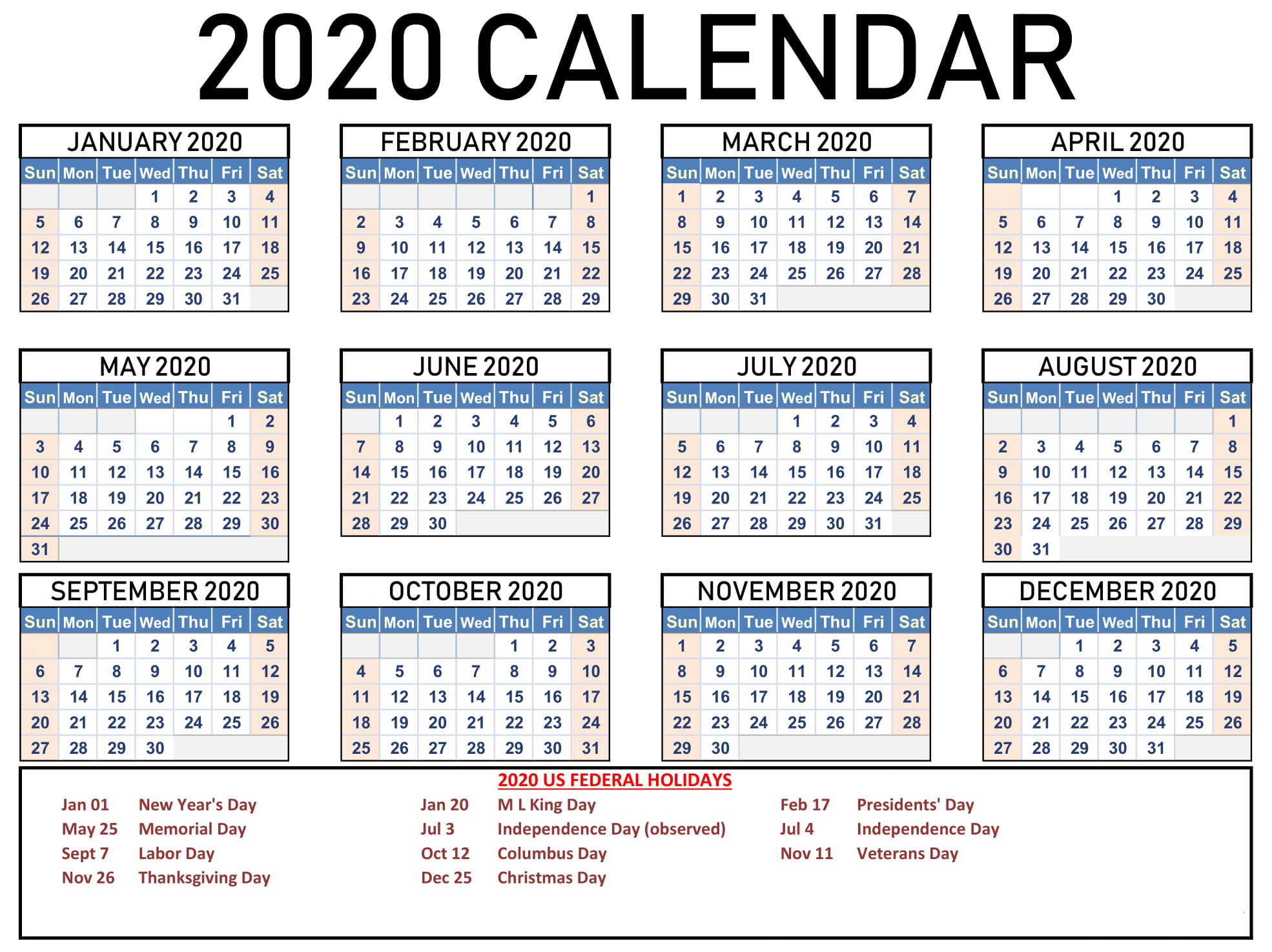 Collect 2020 Free Printable Monthly Calendars You Can Edit pertaining to Blank 12 Month Calendar