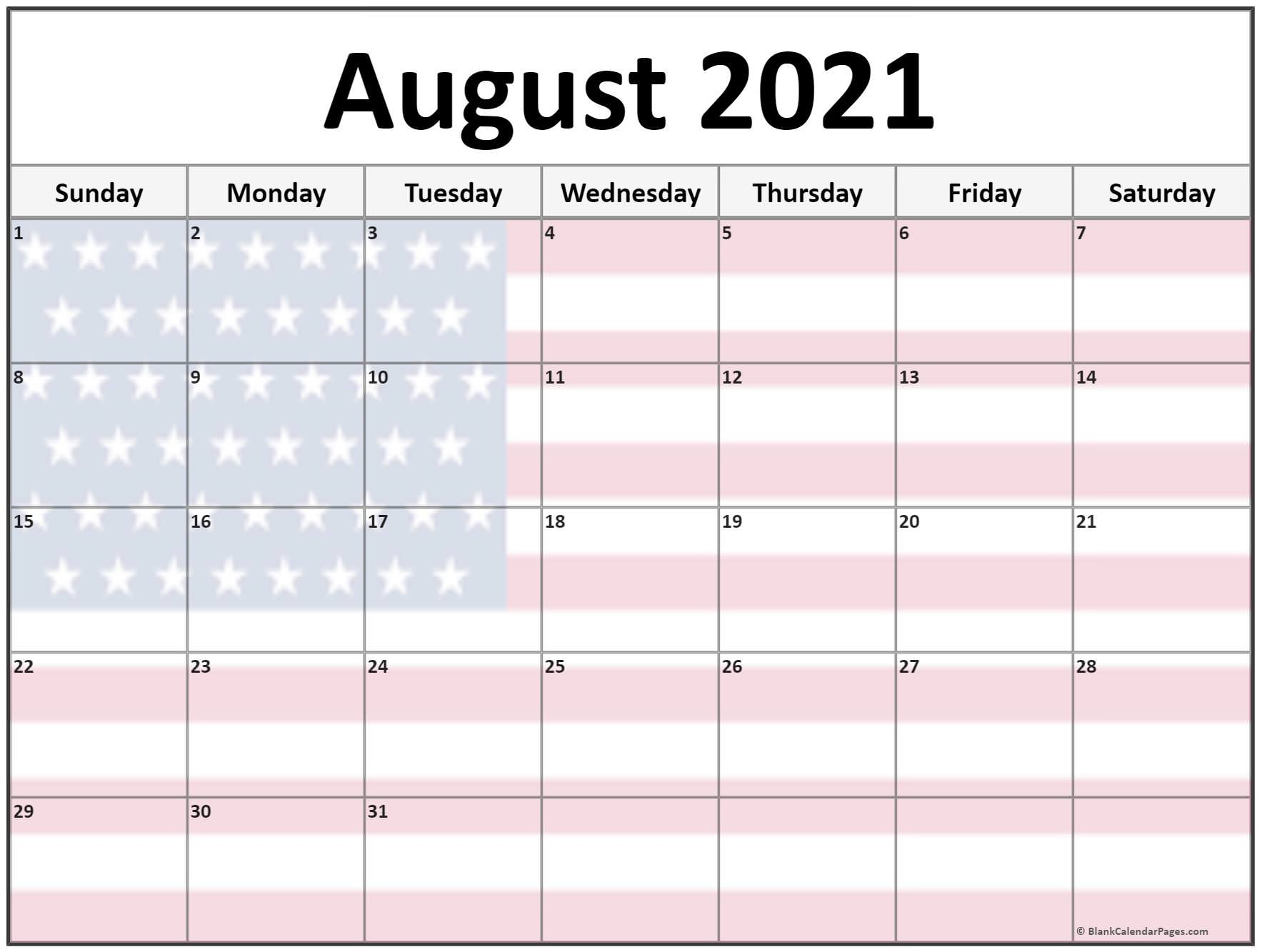 Collection Of August 2021 Photo Calendars With Image Filters. inside Free Calendar Template August 2021