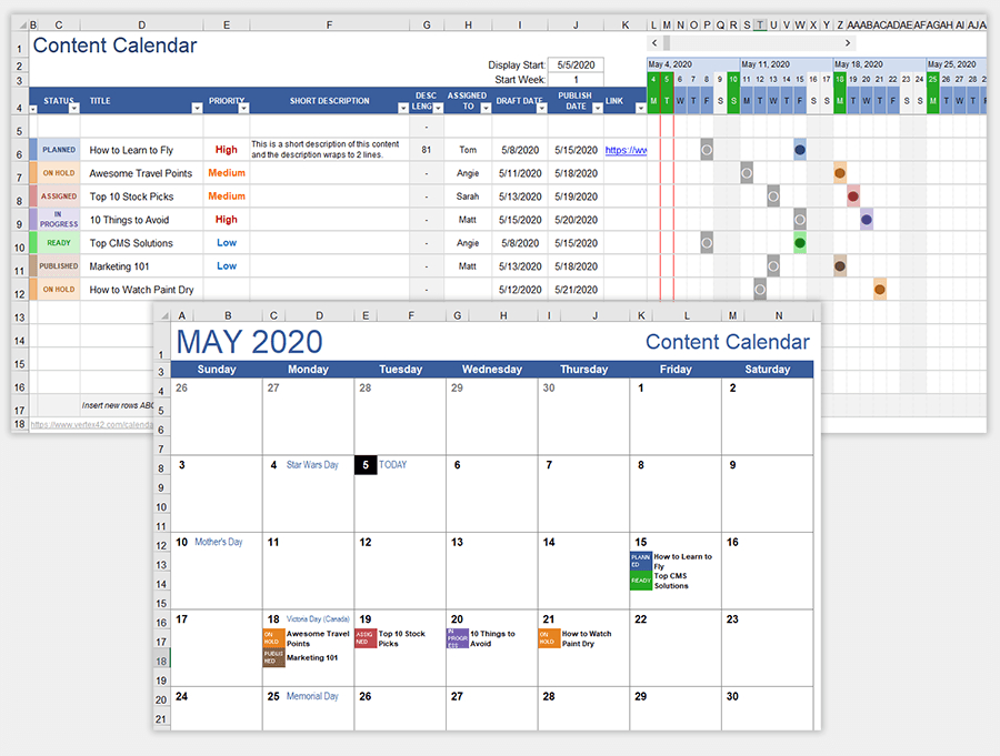 Content Calendar Template For Excel And Google Sheets in Google Excel Calendar Template