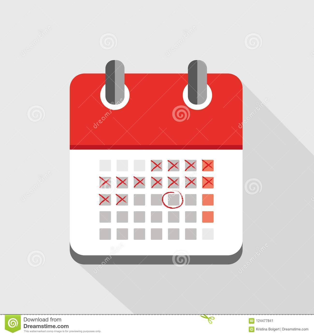 Counting Days In Red Calendar Icon Stock Vector inside Calendar Icon Red