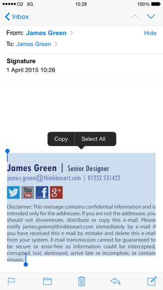 Create An Html Iphone Email Signature | Exclaimer inside Iphone Mail Icon Missing
