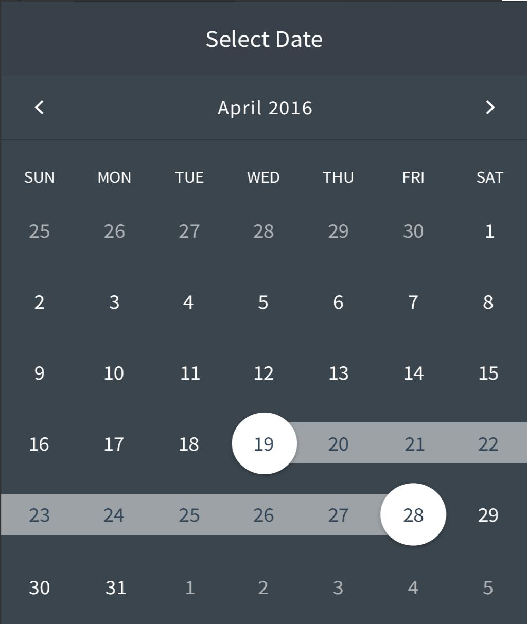Custom Calendar Date Range Swipe Selection Android intended for Calendar Date Range Picker Android