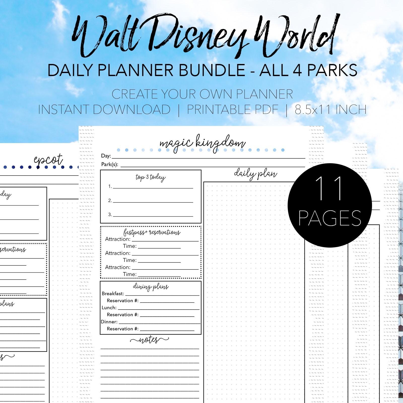 Custom Disney World Itenerary Template   Calendar Template in Walt Disney World Itinerary Template
