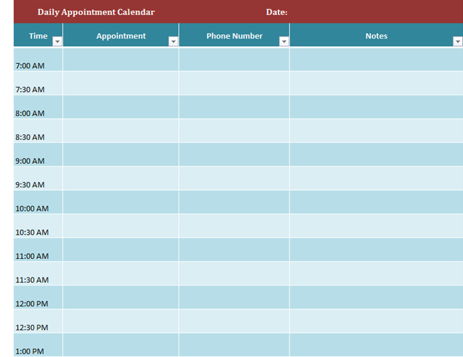 Daily Appointment Calendar | Appointment Calendar for Am Pm Schedule Template
