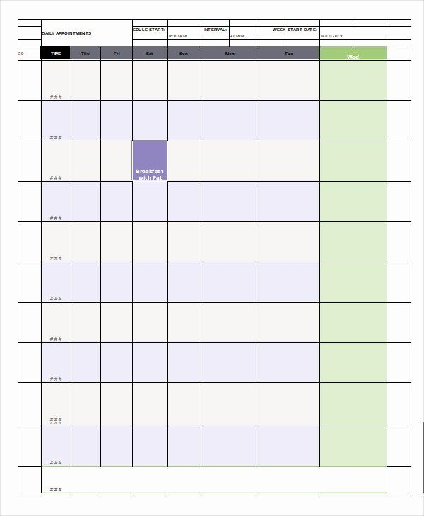 Daily Appointment Schedule Template Awesome Daily Calendar with 5 Day Calendar Template Word