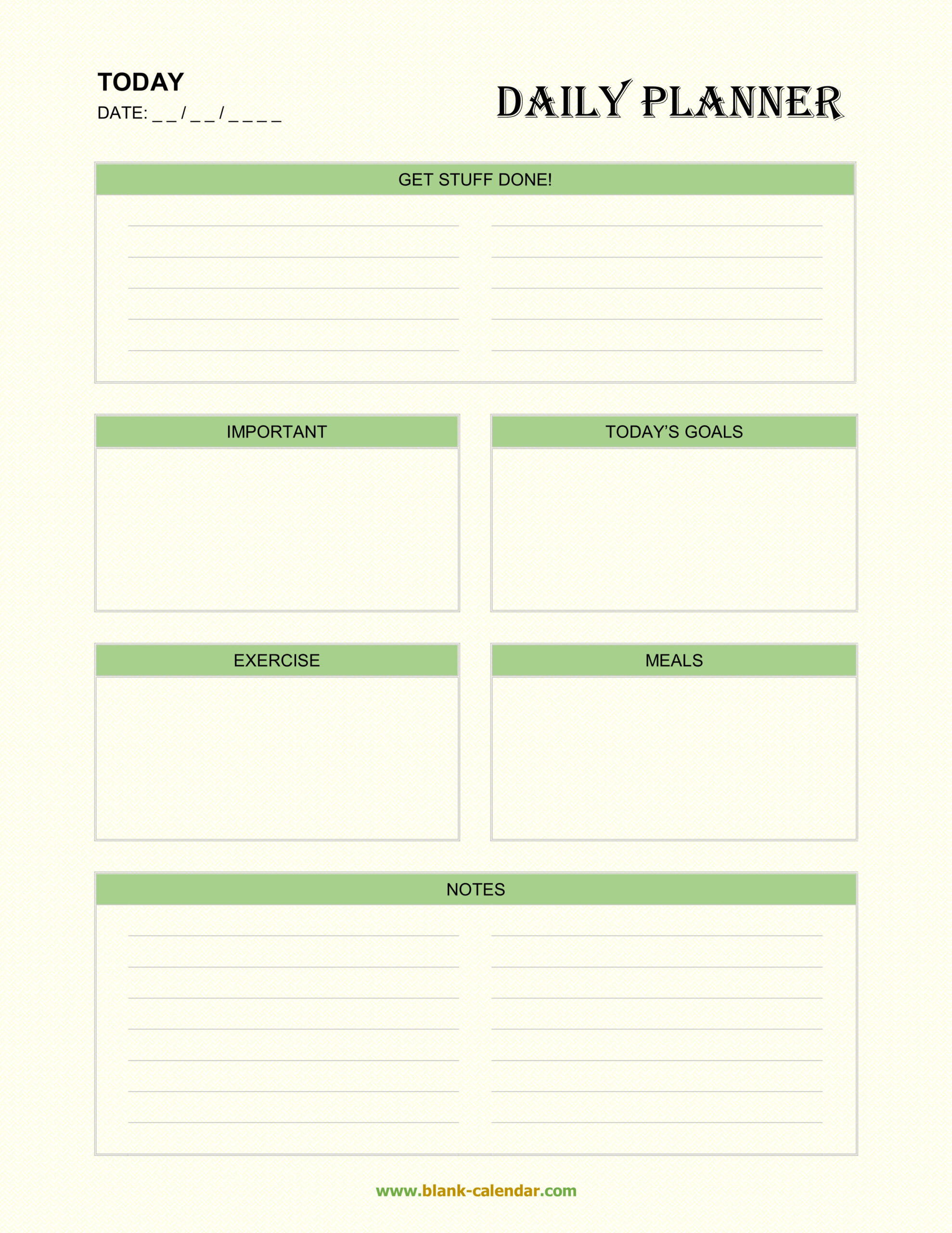 Daily Planner Templates (Word, Excel, Pdf) inside Excel Day Planner
