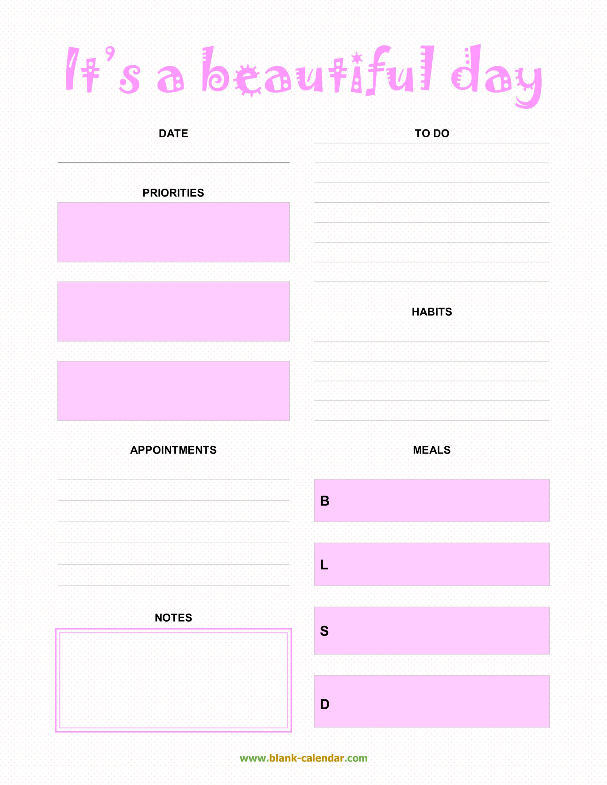 Daily Planner Templates (Word, Excel, Pdf) intended for Daily Agenda Template Word
