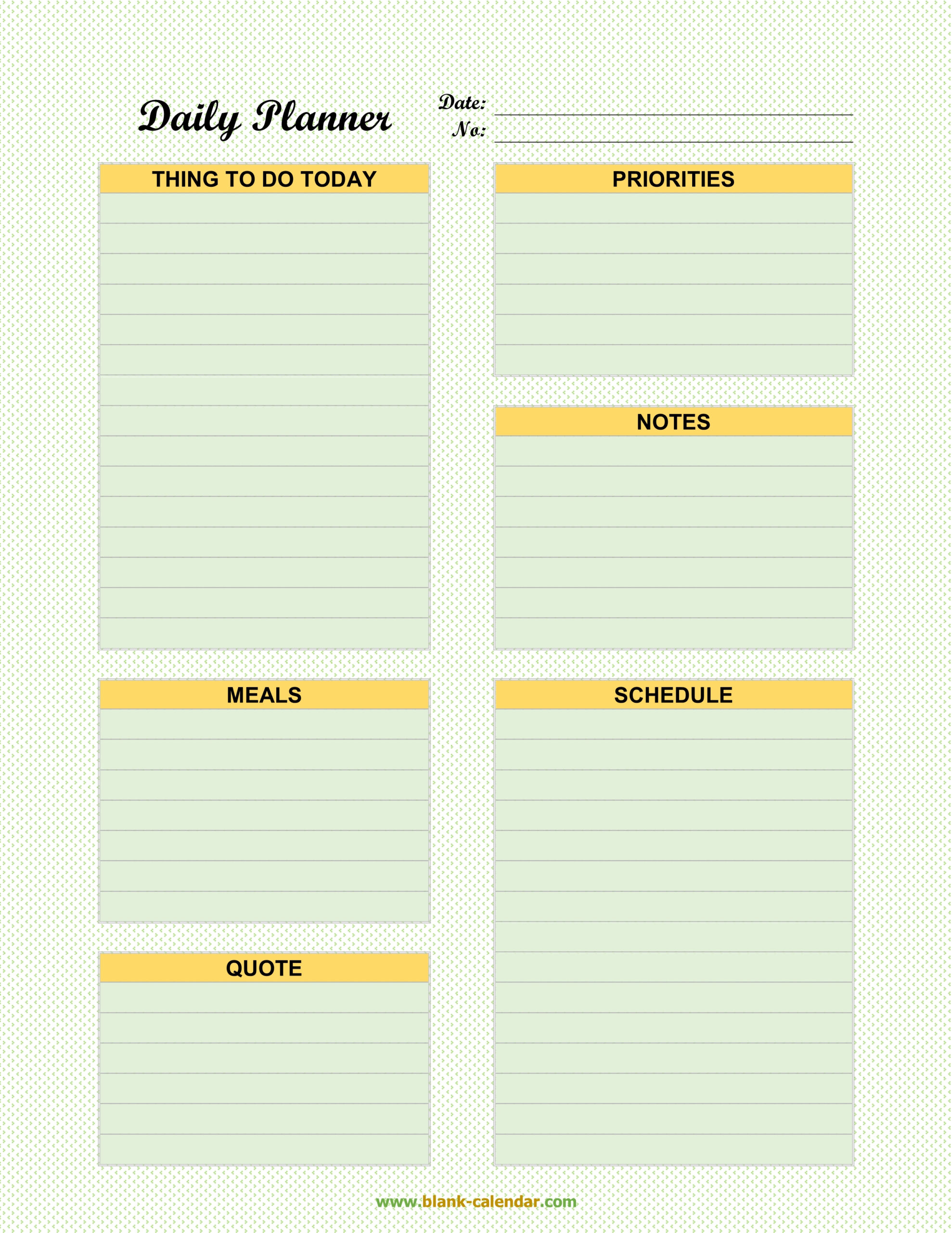 Daily Planner Templates (Word, Excel, Pdf) with Excel Day Planner