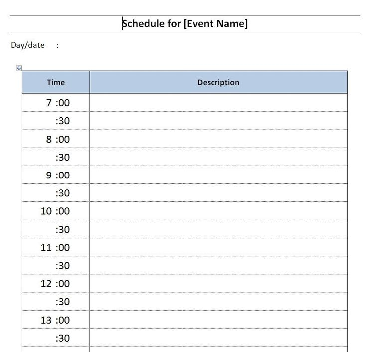 Daily Schedule Template Word Great Daily Event Schedule for Daily Agenda Template Word