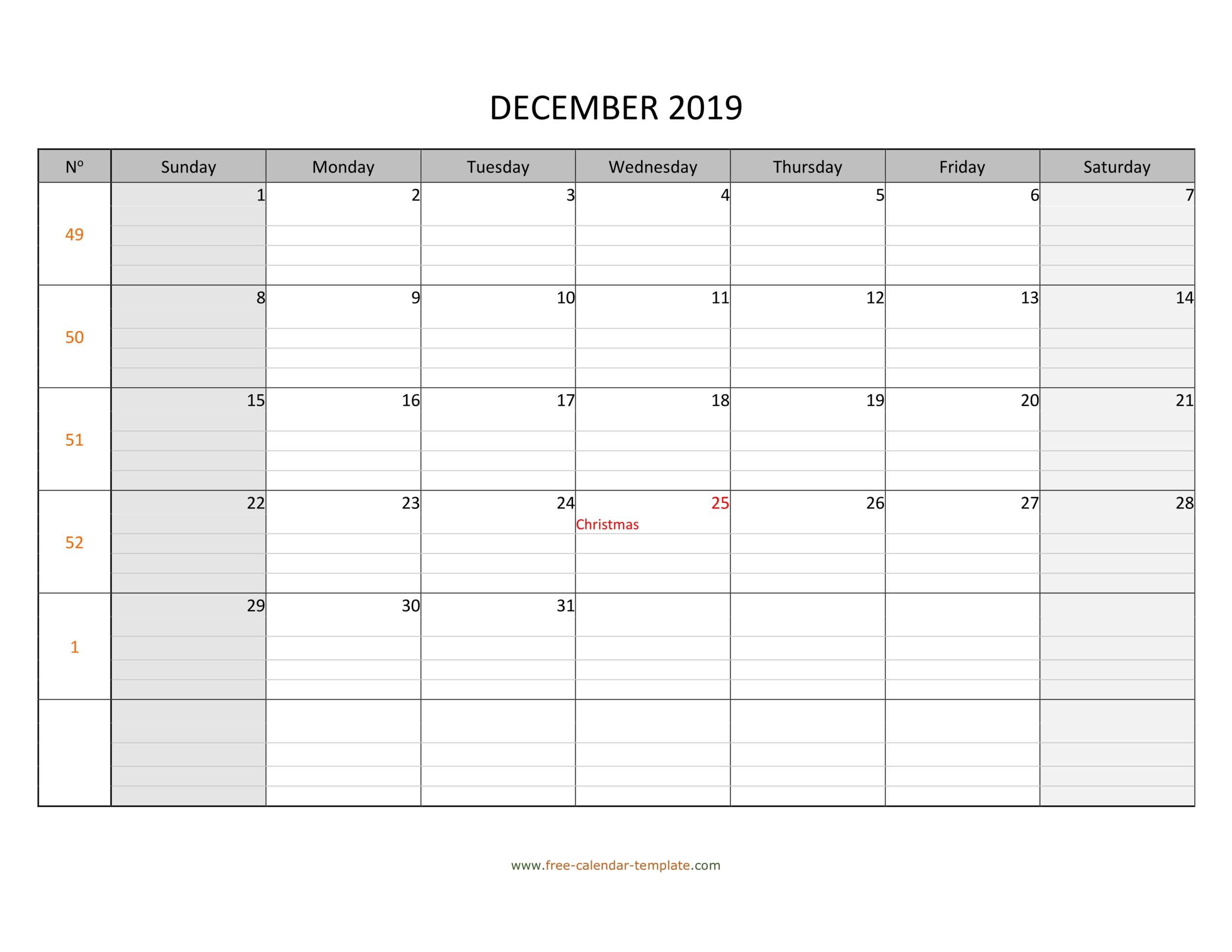 December 2019 Calendar Free Printable With Grid Lines in Free Printable Monthly Calendar Pages With Lines