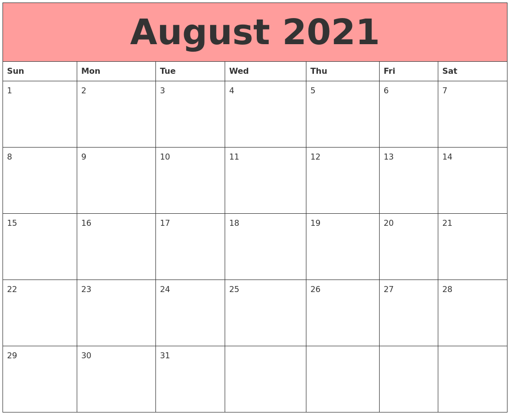 December 2020 Calendar pertaining to Free Calendar Template August 2021