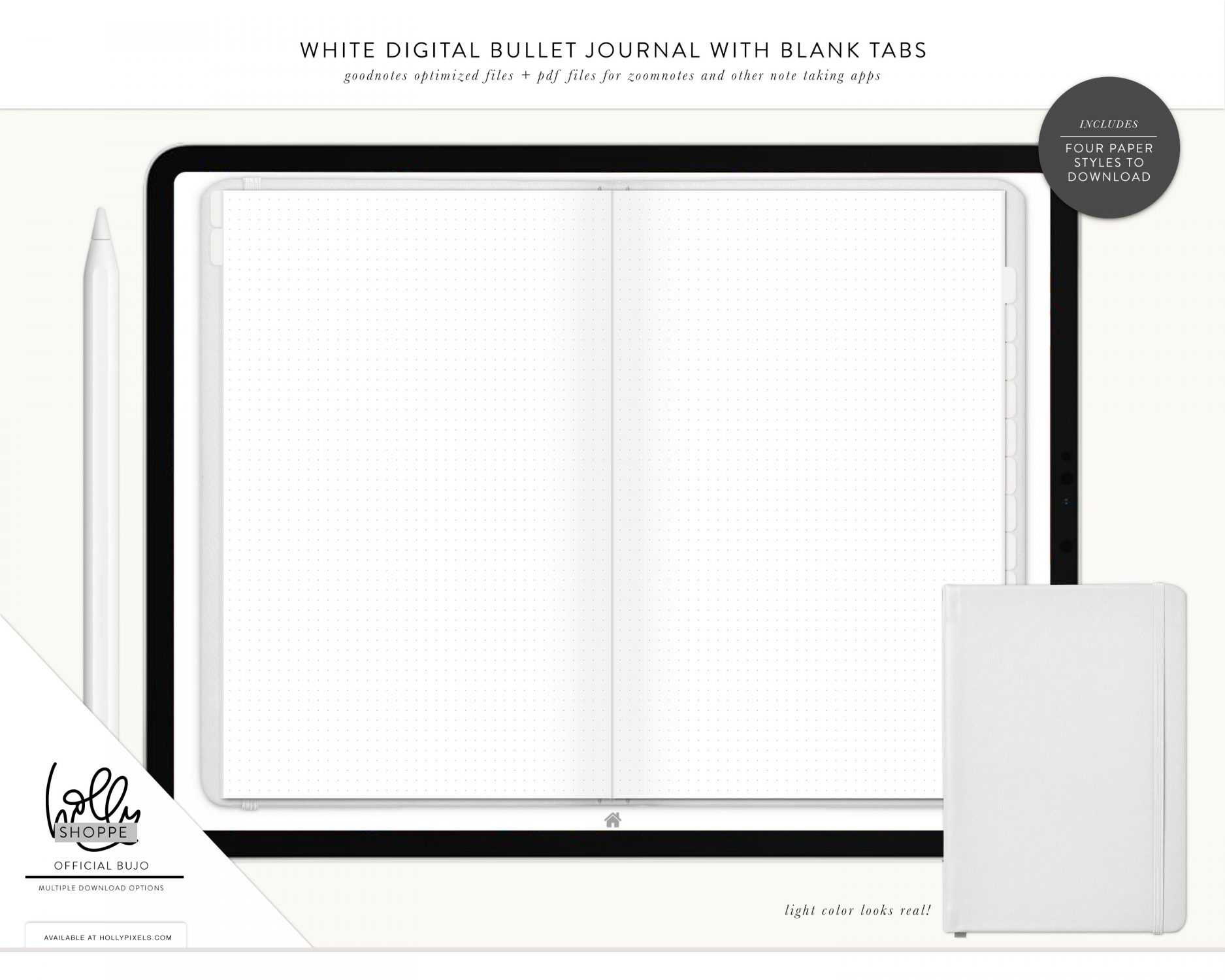 Digital Blank Bullet Journal White Cover By Holly Pixels with regard to Blank Instagram Template 2018