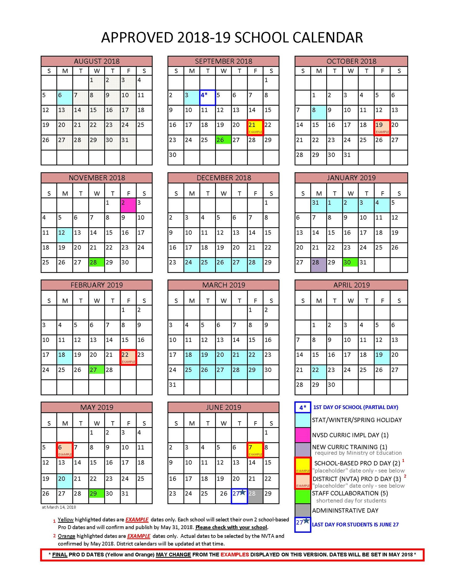 District Calendar  North Vancouver School District regarding Pb County School Calendar