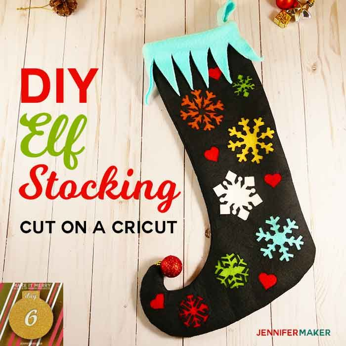 Diy Elf Stocking With A Curly Toe—Made On A Cricut in Jennifer Maker Advent Tree
